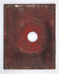 Scream – from the series with the working title FEEDER BOARDS (1991 – present; mixed media, wood, wax, marks left by honeybees and the beekeepers and their tools)